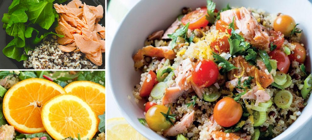 Kale and Quinoa Salad with Salmon