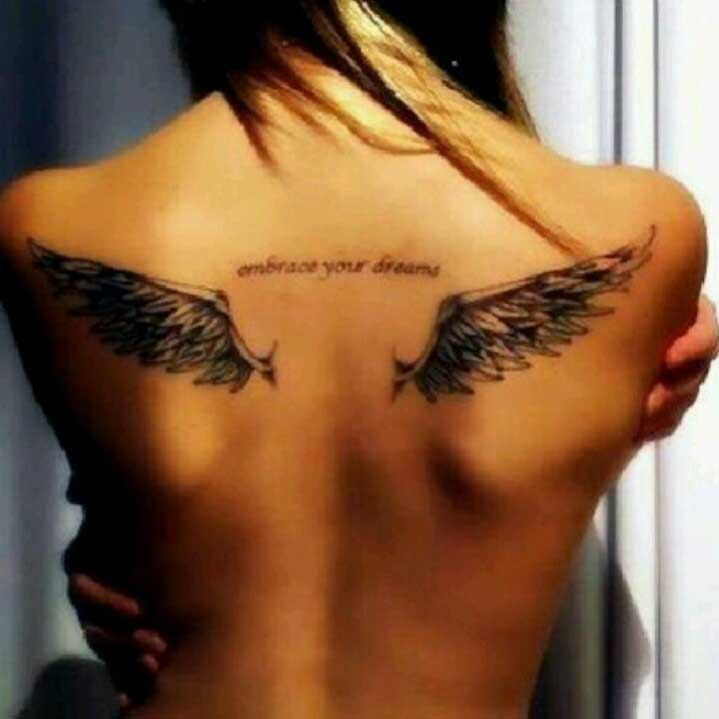 angel wings tattoo on back